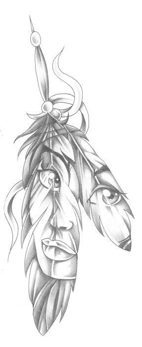 feather tattoo facing up or down tattoo face in a feather native american indian style
