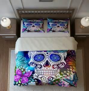 sale sugar skull bedding duvet cover set butterfly burst