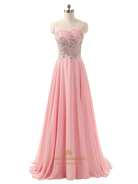 Pink Chiffon Floor Length Dress by Pink Strapless Chiffon Beaded Bodice A Line Floor Length