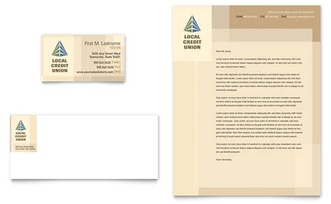 Credit Card Template Publisher Credit Union Bank Business Card Letterhead Template Design