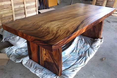 hardwood kitchen tables reclaimed solid slab acacia wood dining table by flowbkk