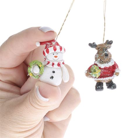 snowman and reindeer miniature snowman and reindeer ornaments