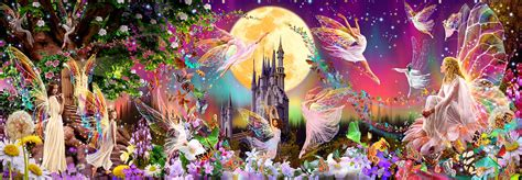 Giant Wall Mural Stickers 00311 fairyland wall mural 4 part wizard genius