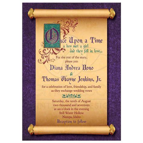 wedding scrolls invitations fairytale wedding invitation scroll once upon a time