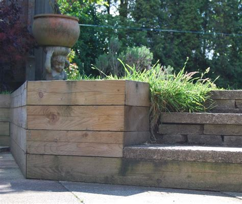 Pine Sleepers Retaining Wall by Raised Beds Retaining Walls With New Pine Railway Sleepers