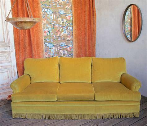 gold velvet sofa gold velvet sofa with fringe at 1stdibs