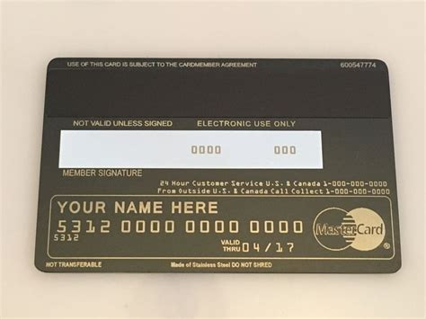back of credit card template custom metal credit cards