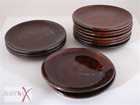 steinzeug geschirr 12 keramik steinzeug teller geschirr braun meliert