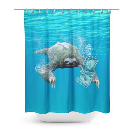 sloth shower curtain nirvana sloth shower curtain shelfies