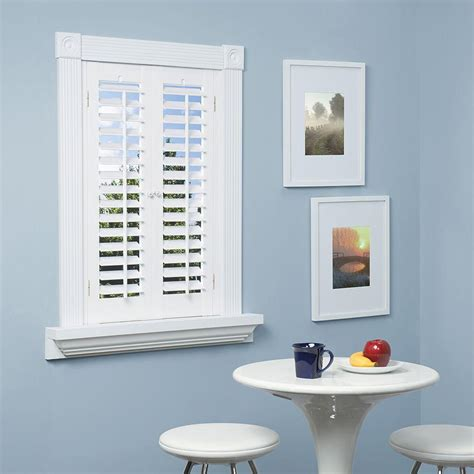Home Depot Window Shutters Interior by Homebasics Plantation Faux Wood White Interior Shutter