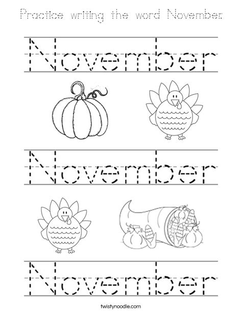 practice writing the word november coloring page tracing
