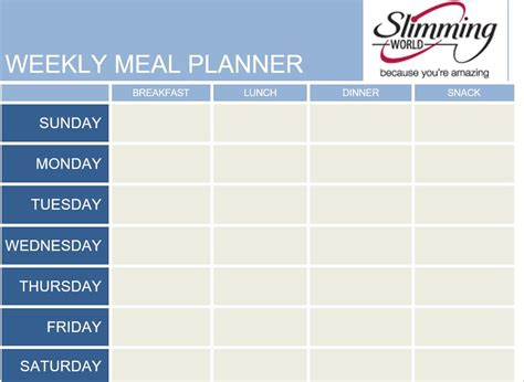 slimming world meal planner template donna slimming world saturday 24th october
