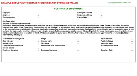 Irrigation Employment And Agreement Contracts Irrigation Installation Contract Template
