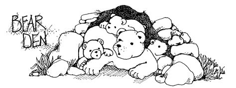 bear den coloring page bear den black and white clipart clipart suggest