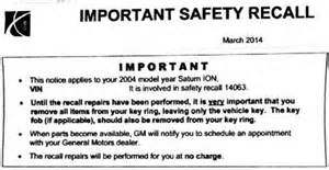 Gm Ignition Recall Parts General Motors Ignition Switch Recall Notice Being Sent To