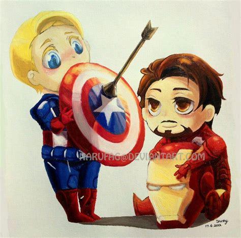 Figure Captain America Ironman Chibi chibi captain america and iron by narufag deviantart on deviantart pin all the