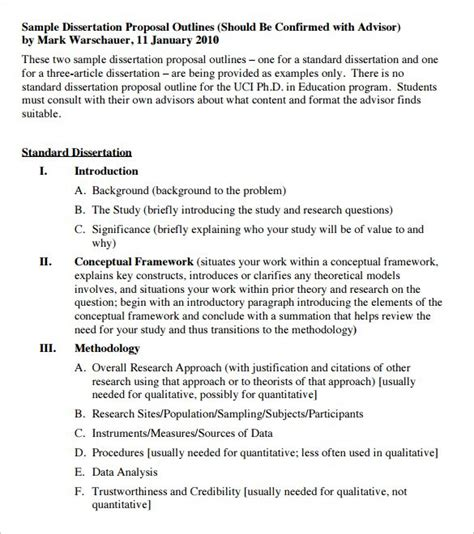 dissertation outline template 10 free sle exle