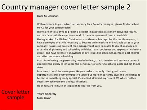 Curriculum Leader Cover Letter by Country Manager Cover Letter