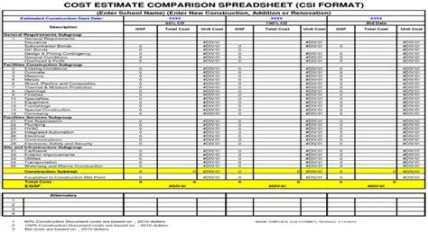 cost estimate comparison spreadsheet free download cost manypics pictures cost estimate comparison spreadsheet