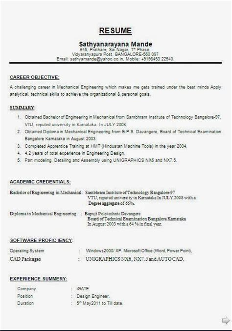 Resume Sles Diploma Mechanical Format For Diploma Mechanical Engineers Pdf To Word 100 Images Awesome One Page Resume Sle