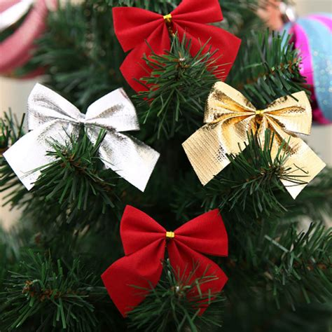 bows for christmas tree decorating 12pcs set decorating bows tree decorations gold silver bows decoration
