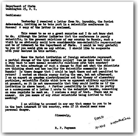Invitation Letter Abroad the feynman files the professor s invitation past the