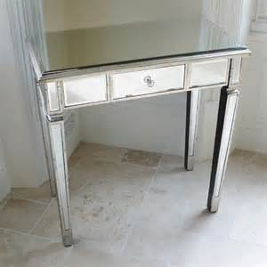 Small Bedside Desk Mirrored Bedside Dressing Table Mirrored Furniture Candle And Blue
