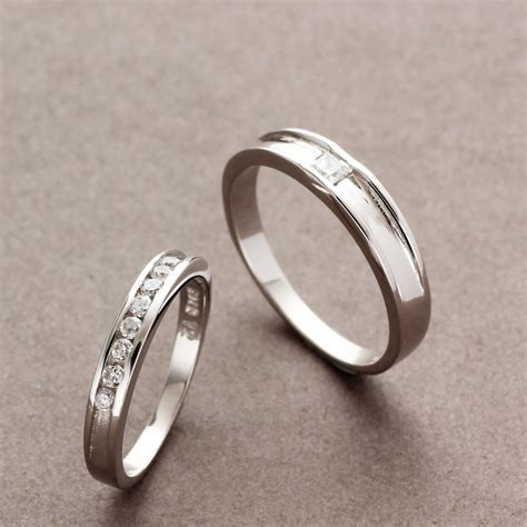 couples matching sterling silver rings cz wedding bands