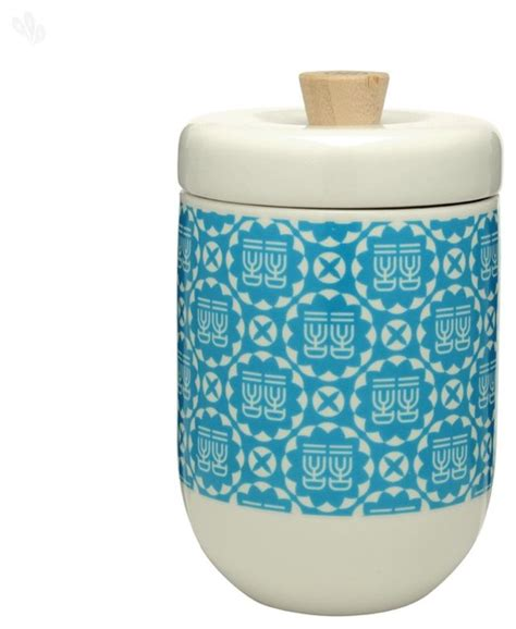 blue and white small storage canister asian kitchen