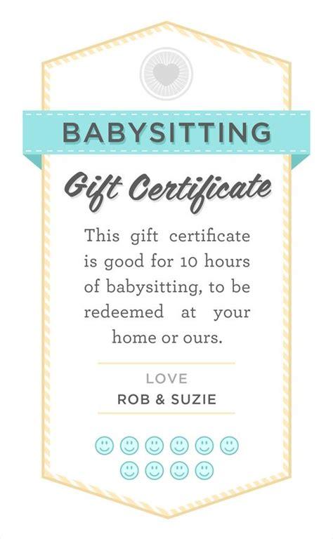 free printable gift certificates pinterest babysitter date night printable babysitting gift