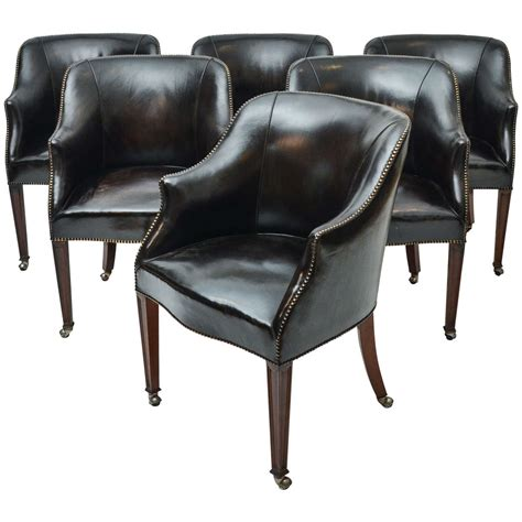 leather upholstered dining room chairs set of six 1940s leather upholstered dining chairs from