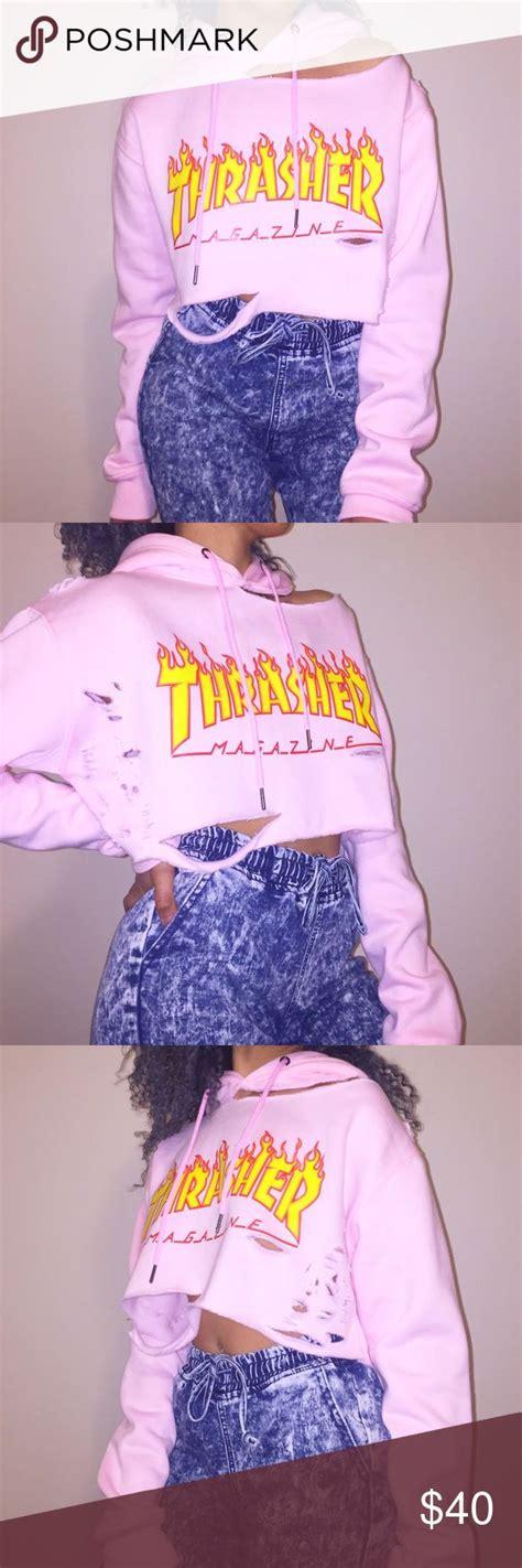 Crop Thraser cropped distressed pink thrasher hoodie de bedste id 233 er inden for sko og t 248 j