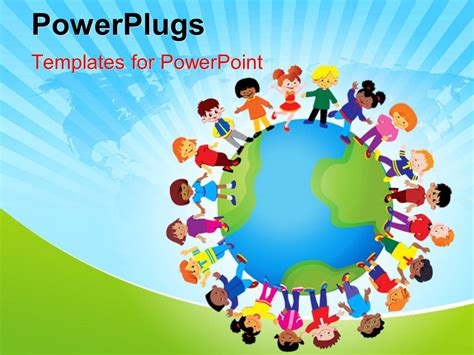 powerplugs templates for powerpoint download powerpoint template kids playing around the globe with