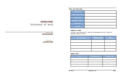 Work Template Word Statement Of Work Template Best Sow Exles