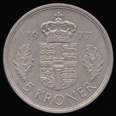 copper nickel 5 kroner coins of denmark treasurerealm