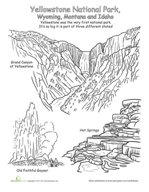 coloring pages yellowstone american national parks coloring pages education com