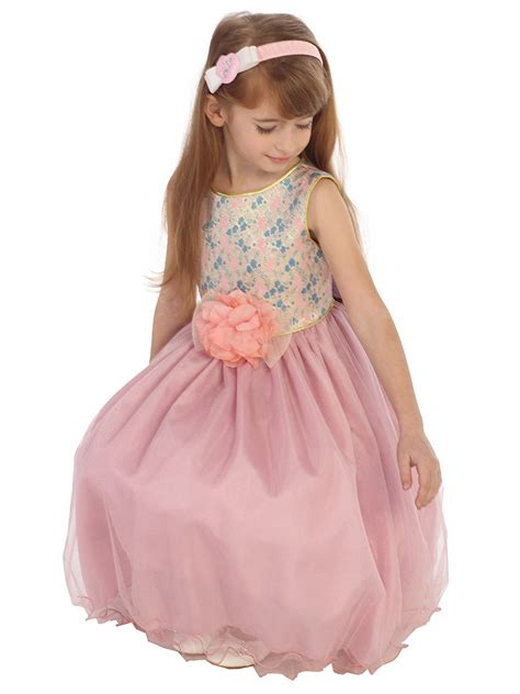 Dhanny Virna Dusty Pink Ay dusty floral jacquard bodice w tulle dress