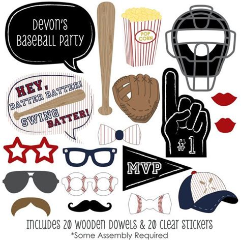 printable hockey photo booth props 20 batter up baseball photo booth props by