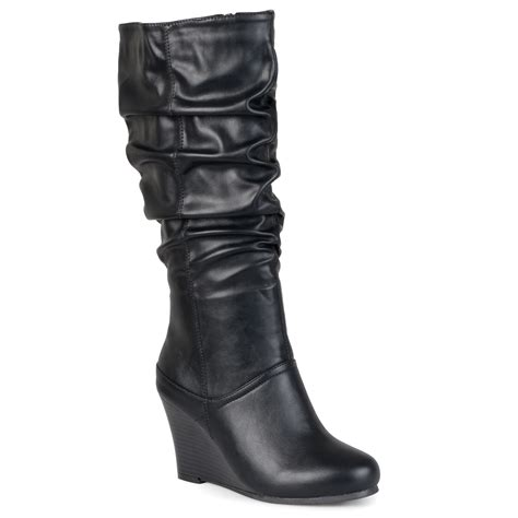 Inside Wedges Hana Black brinley co womens regular sized slouch knee high dress boot