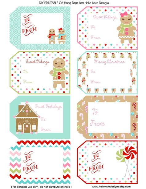 Printable Gift Tags On Pinterest | printable gift hang tags gingerbread pdf christmas