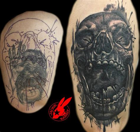 evil skull cover up tattoo by jackie rabbit by
