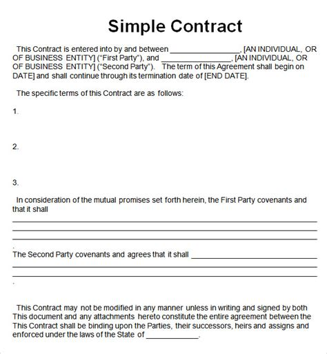 contract agreement templates simple contract template 7 free pdf doc