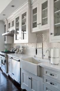 Kitchen With White Cabinets White 1x2 Mini Glass Subway Tile Subway Tile Backsplash Glasses And Cabinets