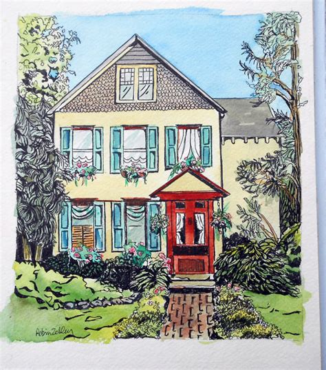 house portraits house portrait watercolor ink painting 11 x by