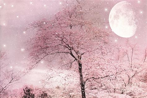 dreamy surreal pink fairytale nature trees moon and stars