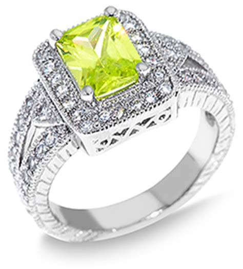light green colored square emerald cut cz sterling