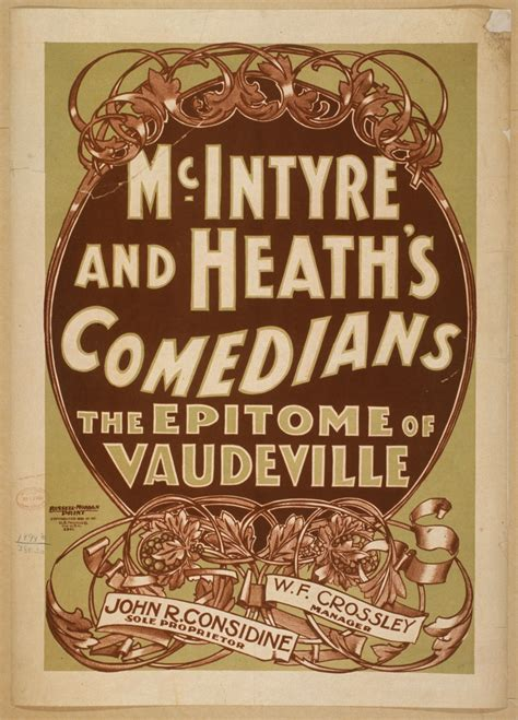 vaudeville poster template mcintyre and heath s comedians the epitome of vaudeville