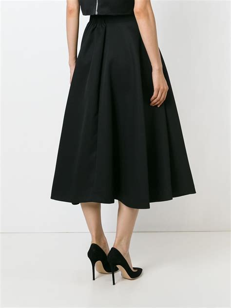rochas high waisted circle skirt in black lyst