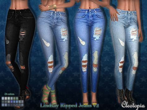 sims 4 jeans cleotopia s set50 lindsay ripped jeans v2