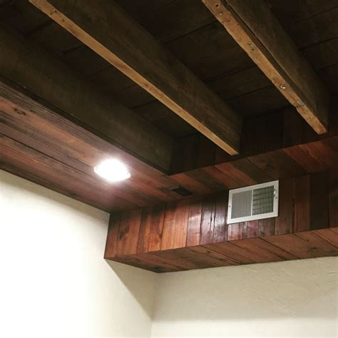 Ceiling Duct hide duct work and ceiling wires in basement with